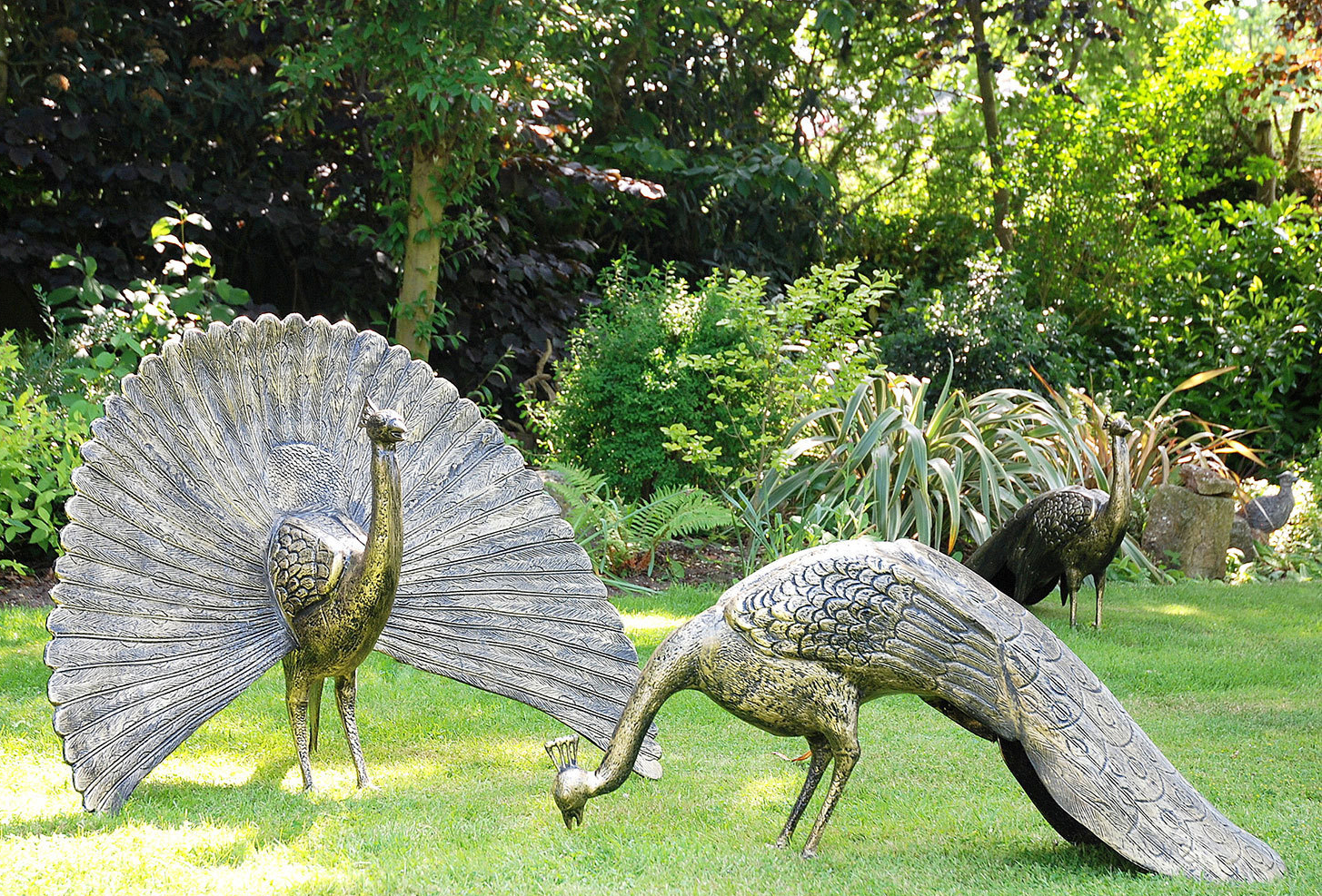 High Quality Bronze pair of stunning peacock sculptures