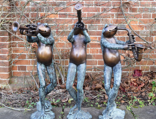 Large Bronze Outdoor Garden Abstract Band Sculpture of Frog