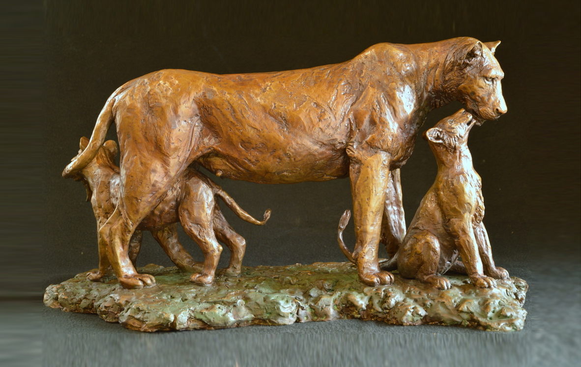 High Quality Art of reproduction tiger and baby tiger bronze sculpture