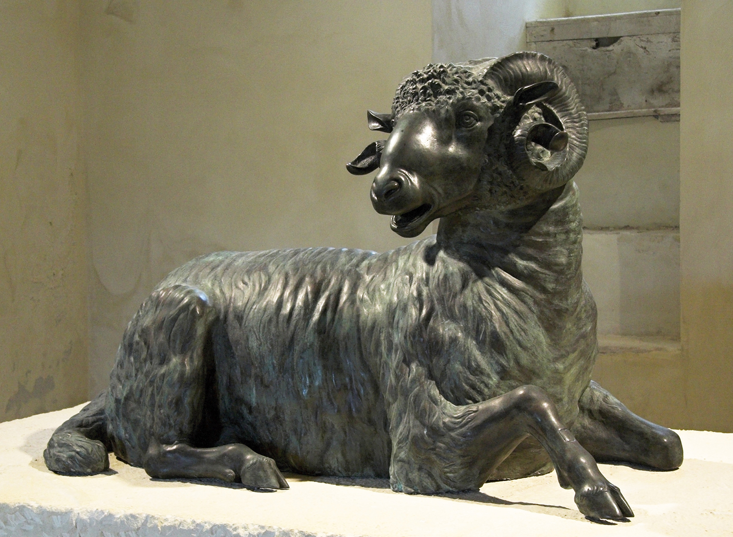 Ancient Bronze Indoor Decor Statue of Sitting Ram From 3rd Century BC