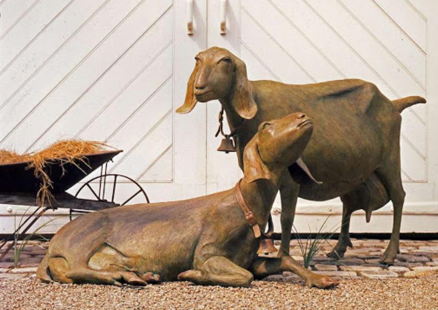 Bronze Outdoor Life Size Statues Sheep Garden Memorial
