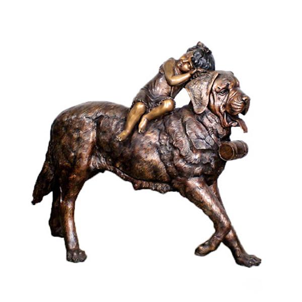 Snow ambulance st bernard dog Bronze statue