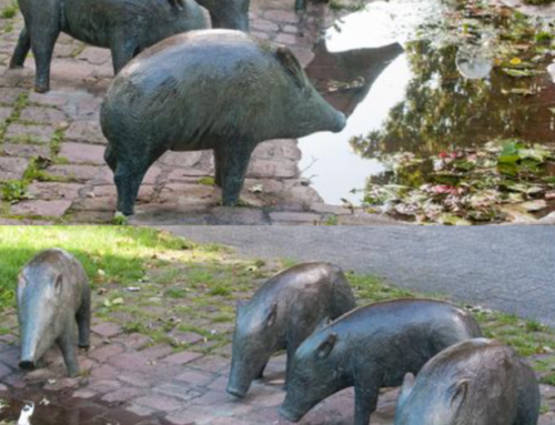Life Size Good Quality Bronze wild boar peccary sculptures