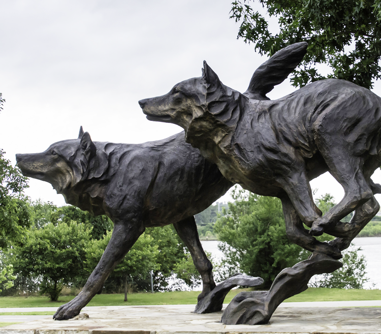 Vivid Running bronze black wolf sculpture