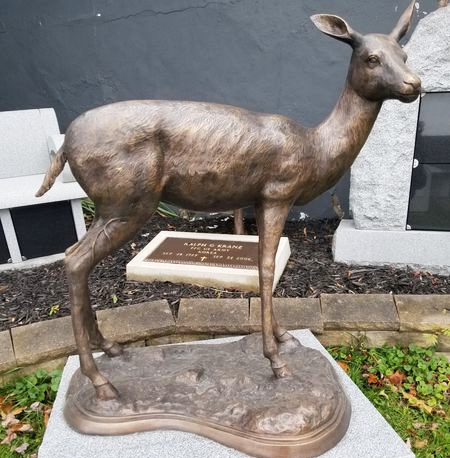 Vivid Animal Bronze whitetail deer sculpture for shelter
