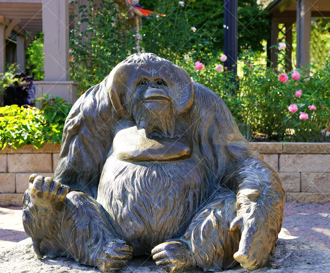 Large Outdoor Life Size Sitting Zoo Animal Sculpture of Chimpanzee