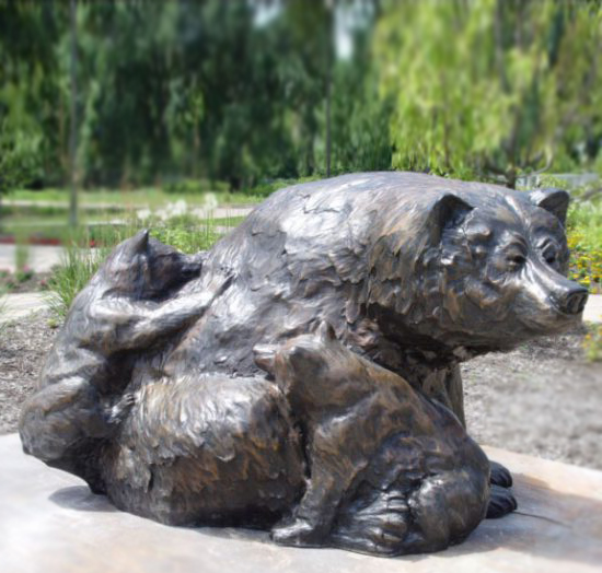 Outdoor Animal Decoration Bear family Bronze Statue