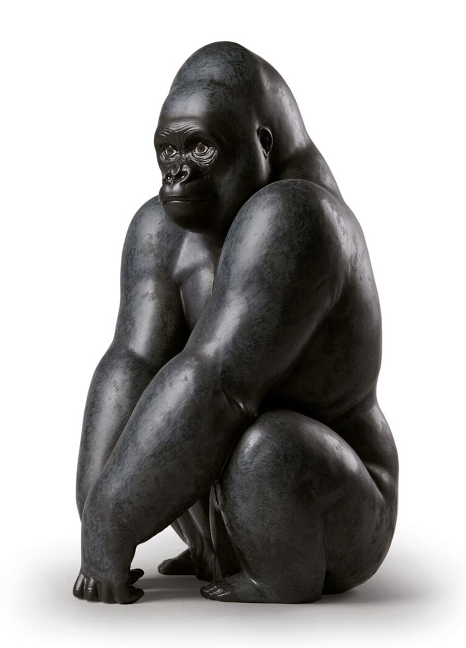 Bronze Large Sitting Black Statue of Animal Gorilla