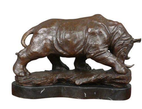 Large Indoor Outdoor Decor Sculpture Bronze Rhinoceros