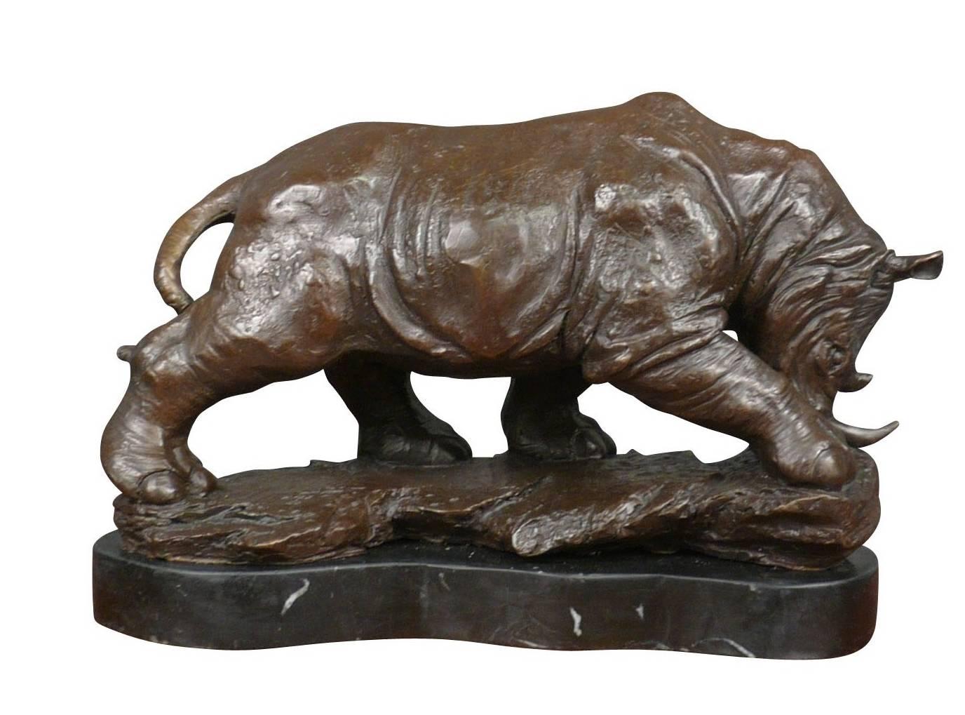 sculpture bronze rhinoceros