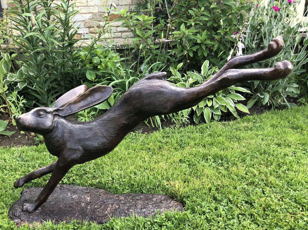 Life Size Garden Outdoor Bronze Leaping Hare Sculpture