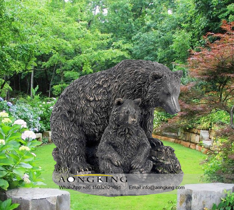 Home Ornament Bronze black bear solar statue for Sale