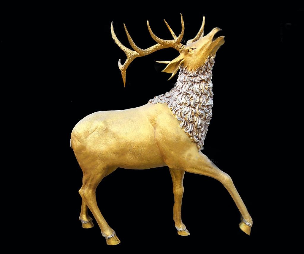 Wildlife Outdoor Indoor Decor Life Size Brass Chirping Deer Statue Elk