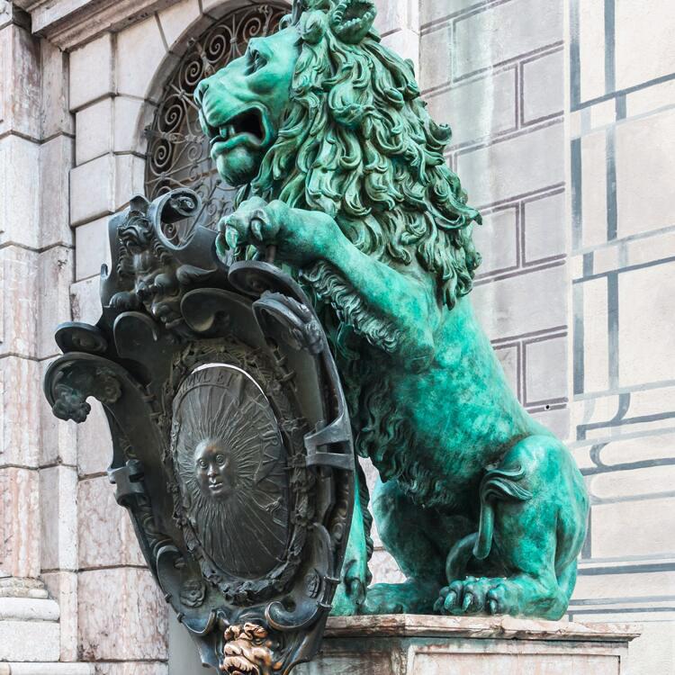 Large Size Outdoor Decoration Copper Statue of Cast Bronze Lion