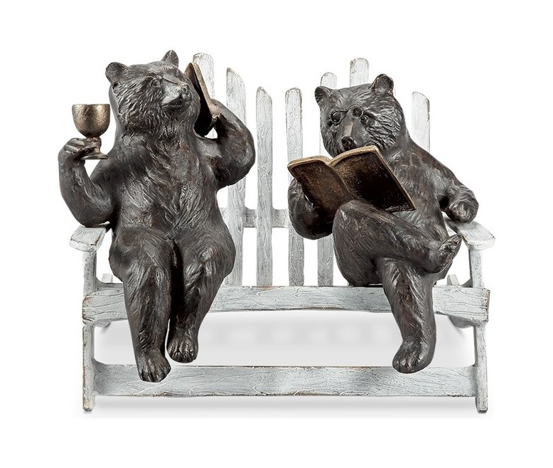 Active Lovely Cute Life Size Bronze Finish Two Pastime Bear on the Bench Sculpture