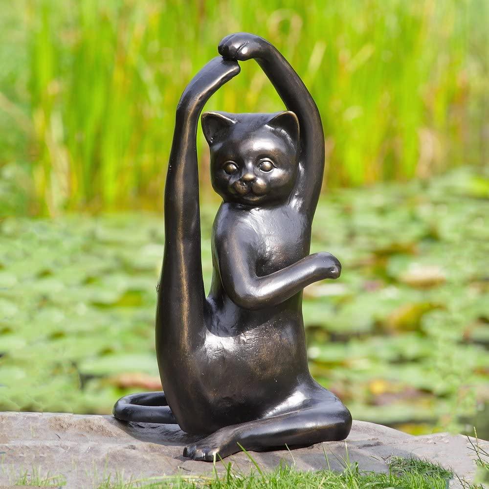 Lovely Cute Sport Bronze Garden Outdoor Cat Garden Statue