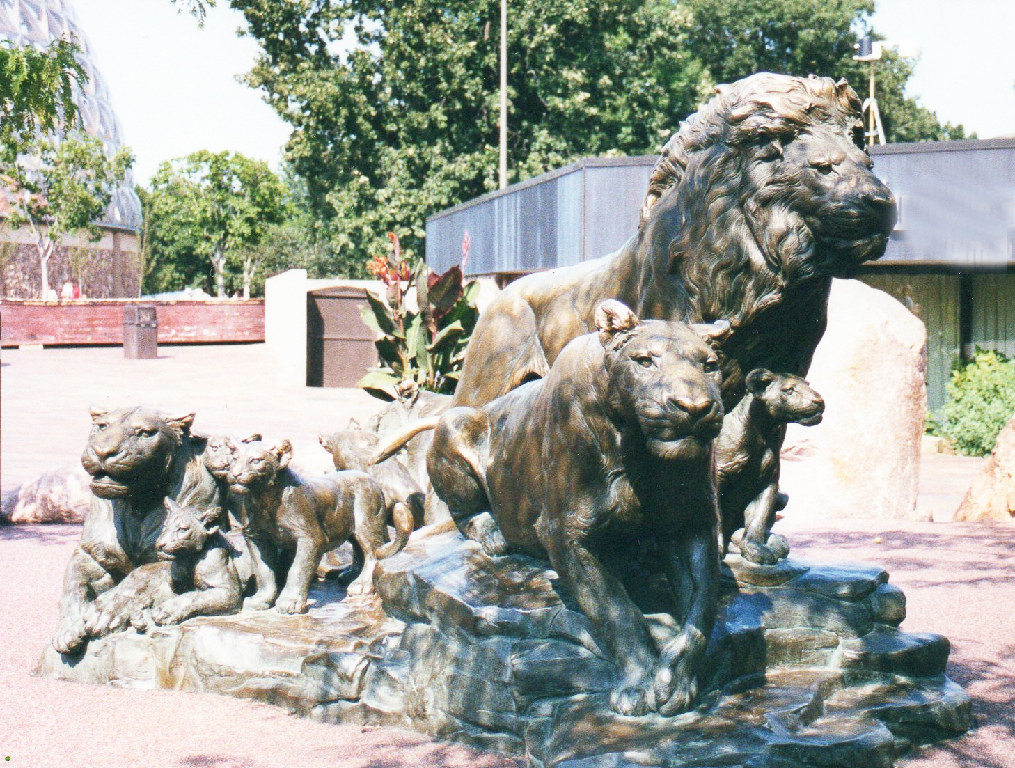 Sweet Family A Group of Large Outdoor Bronze Animal Sculptures Lions Statue