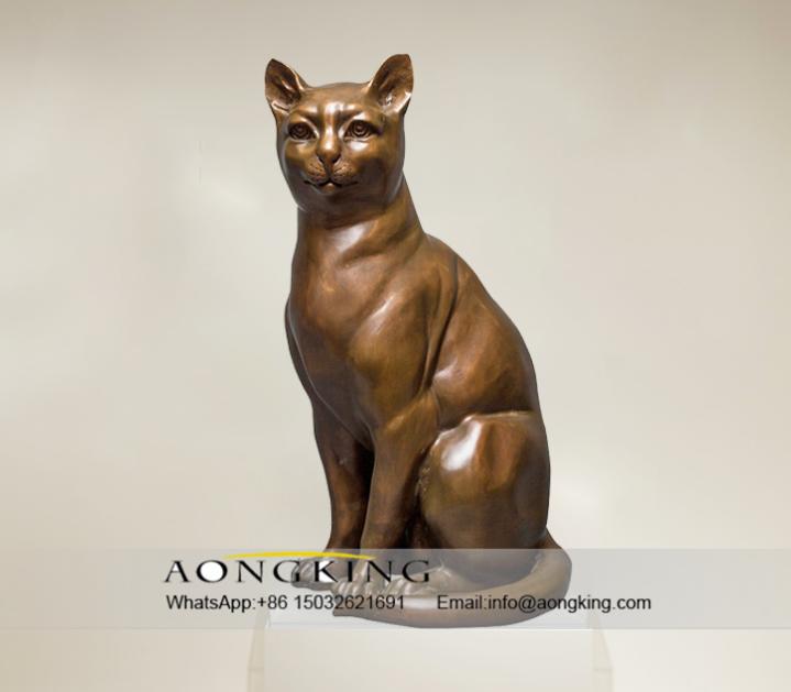 Life Size Sitting Decoration Bronze Cat Sculpture