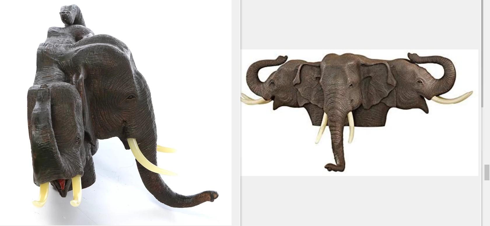 Animal head elephant wall sculpture