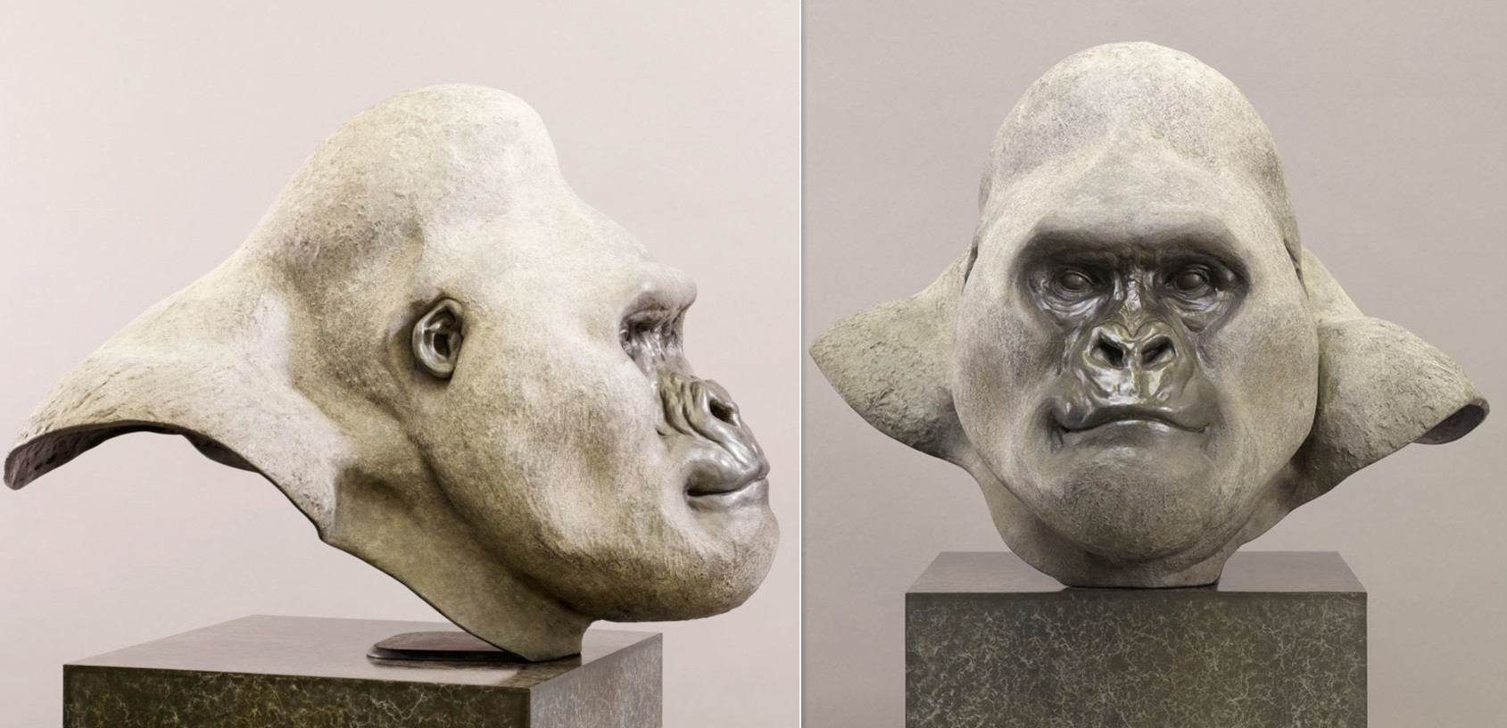 Animal head gorilla head sculpture