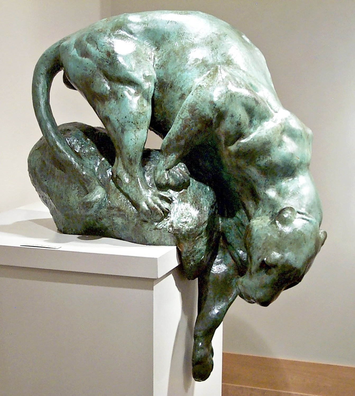Bronze sculpture, bronze panther statue