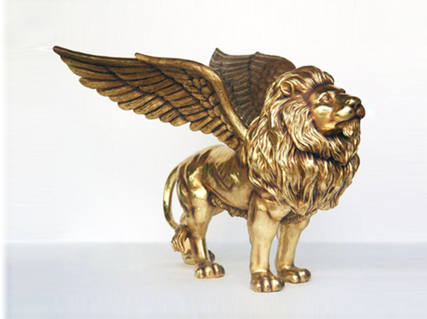 Large flying lion statue