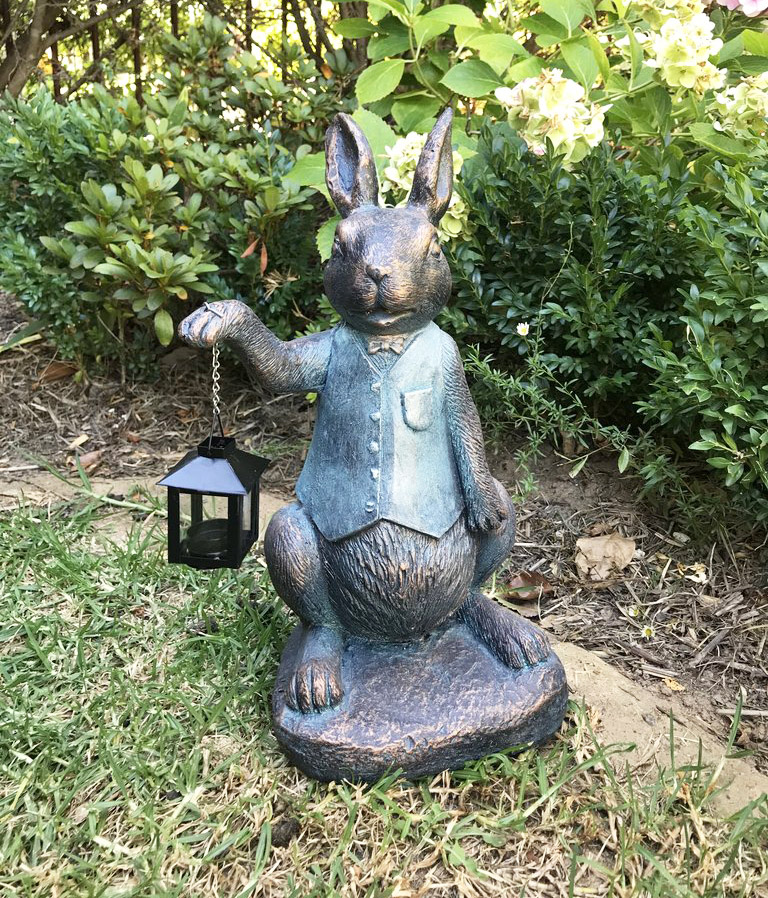 Rabbit lamp garden sculpture