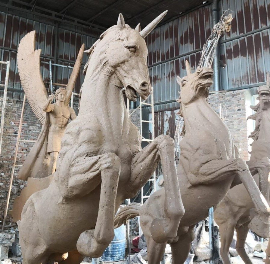 Unicorn bronze sculpture