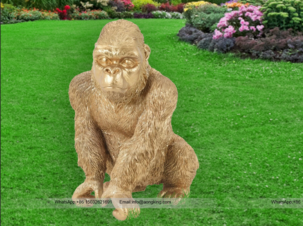 Art shop hot selling customized gorgeous golden gorilla sculpture for outdoor