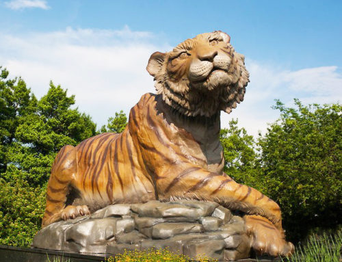 Contemporary customized artificial crafts bronze tiger sculpture for outdoor
