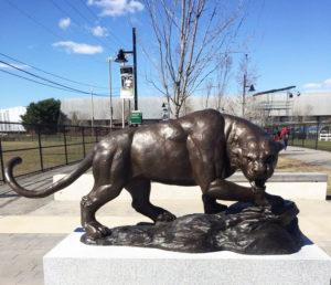 wildlife brass panther statue
