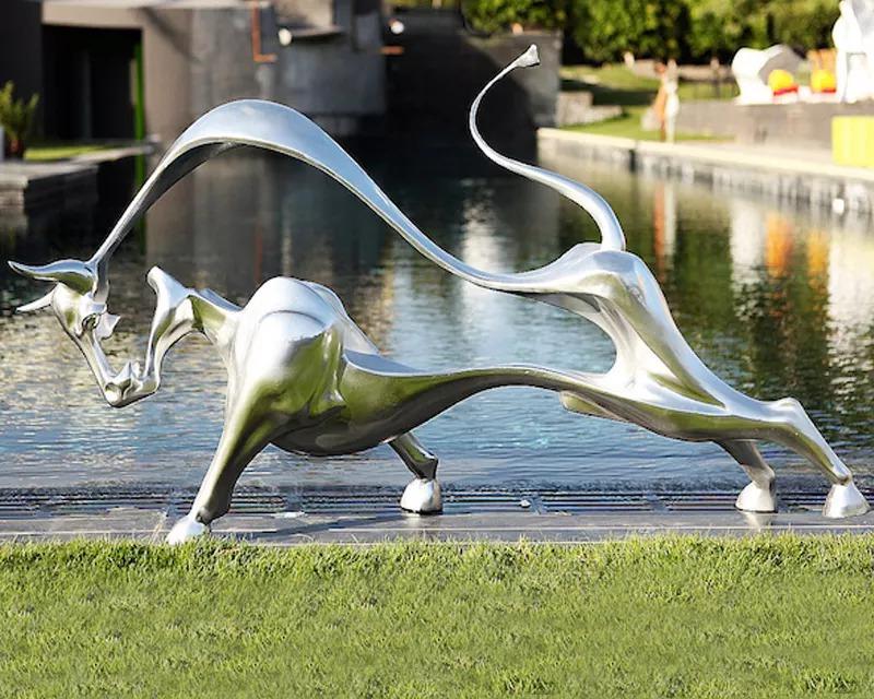 brushed stainless steel bull art