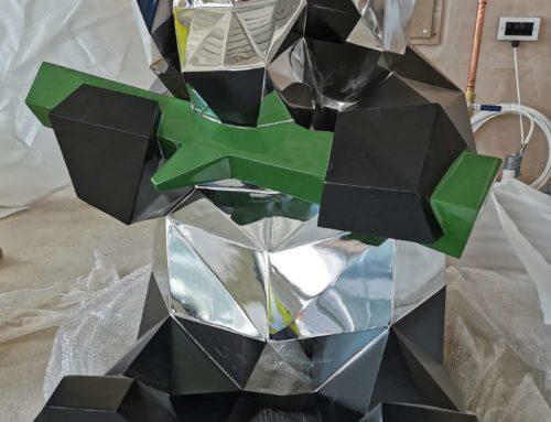Life Size Indoor Silver Geometric Decor Panda Statue