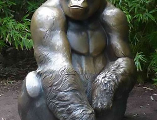 Bronze Sitting Garden Serious Gorilla Sculpture