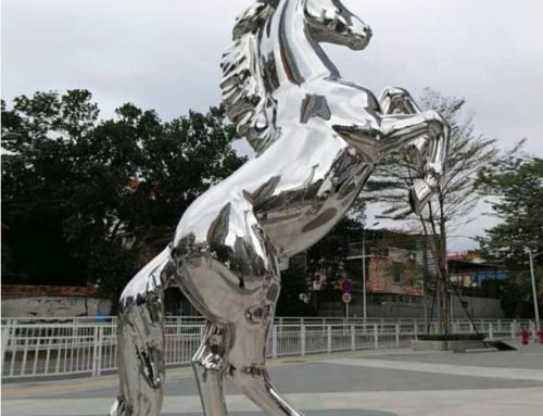 Large Outdoor Decoration Jumping Steel Horse Sculpture