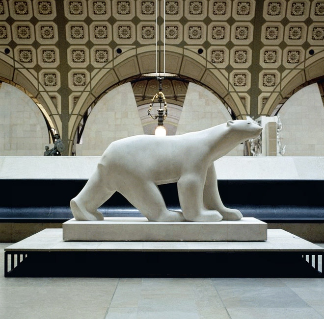 white bear in marble
