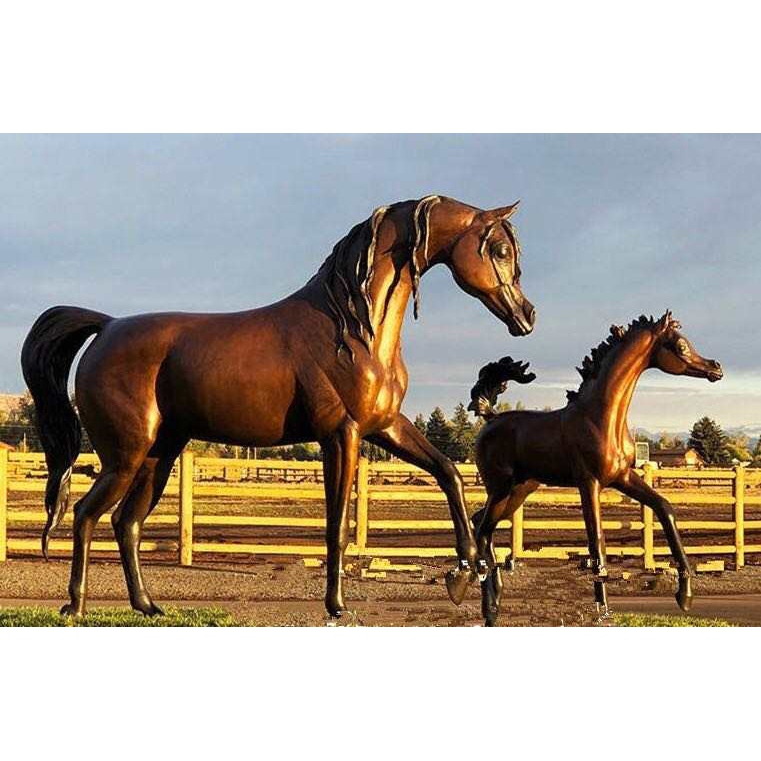 chestnut arabian horse sculptures
