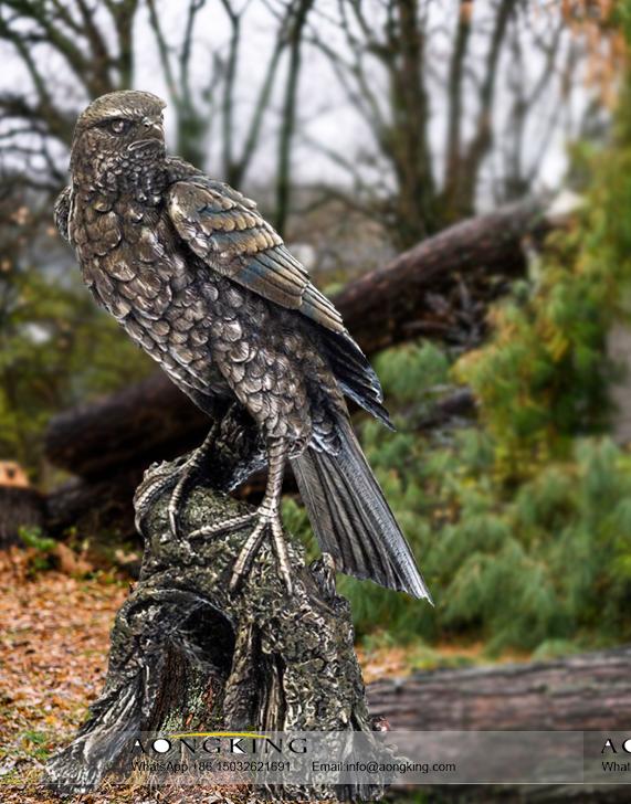 Hawk Bronzed Statue