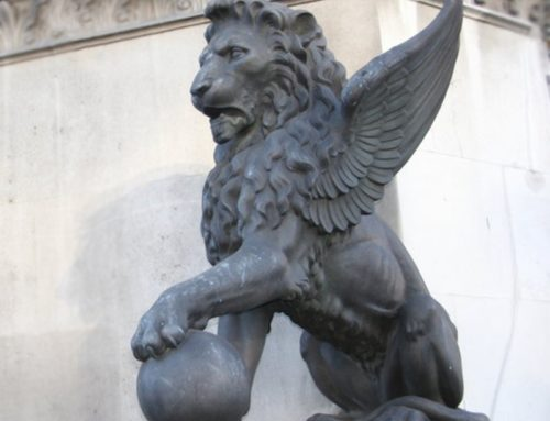 Large Outdoor Square Stone Winged Lion Sculpture