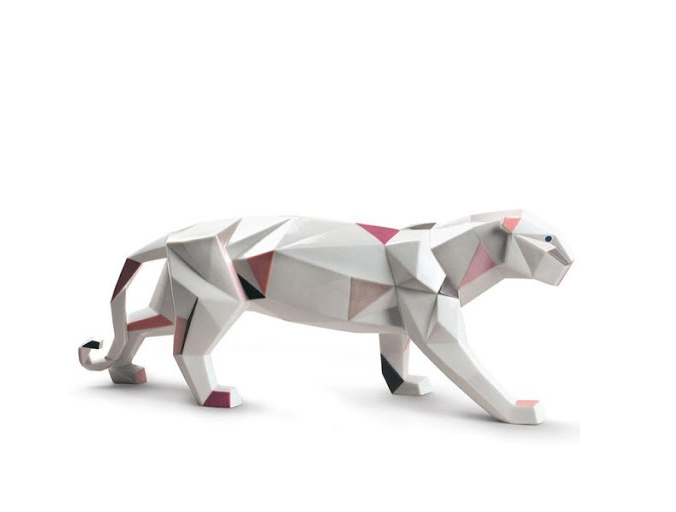 brushed stainless steel cheetah sculpture