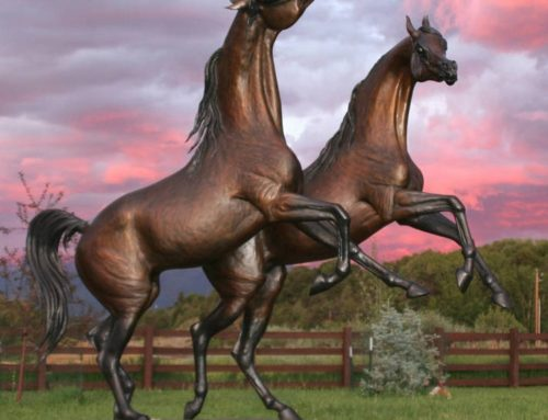 Galloping Wild Bronze Arabian Horse Statues