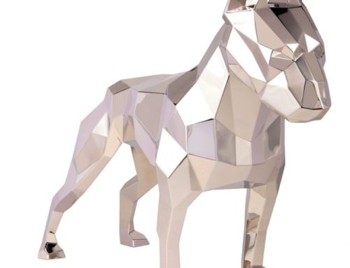 Modern Geometric Stainless Steel Dog Statue