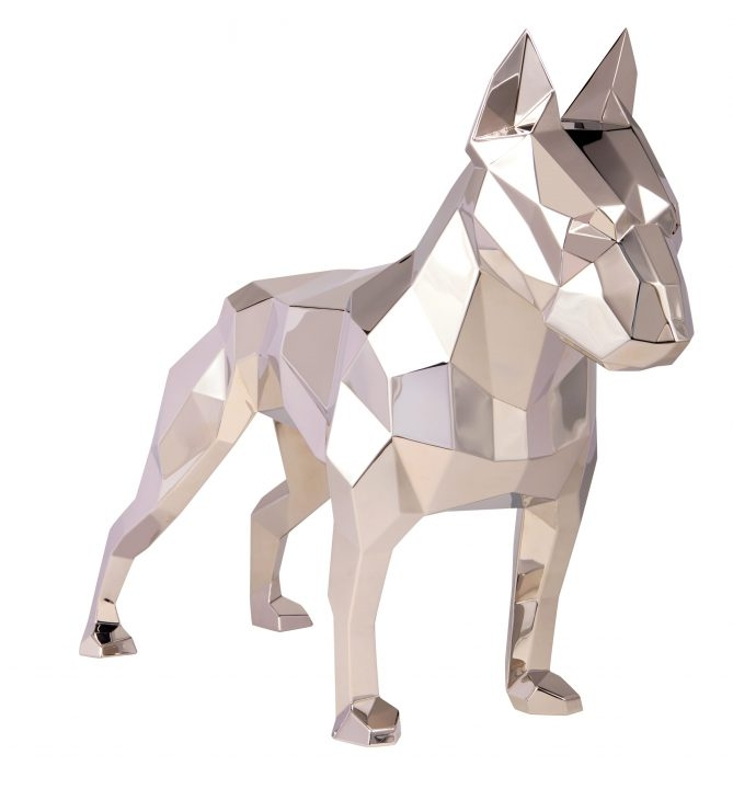 geometric steel dog statue