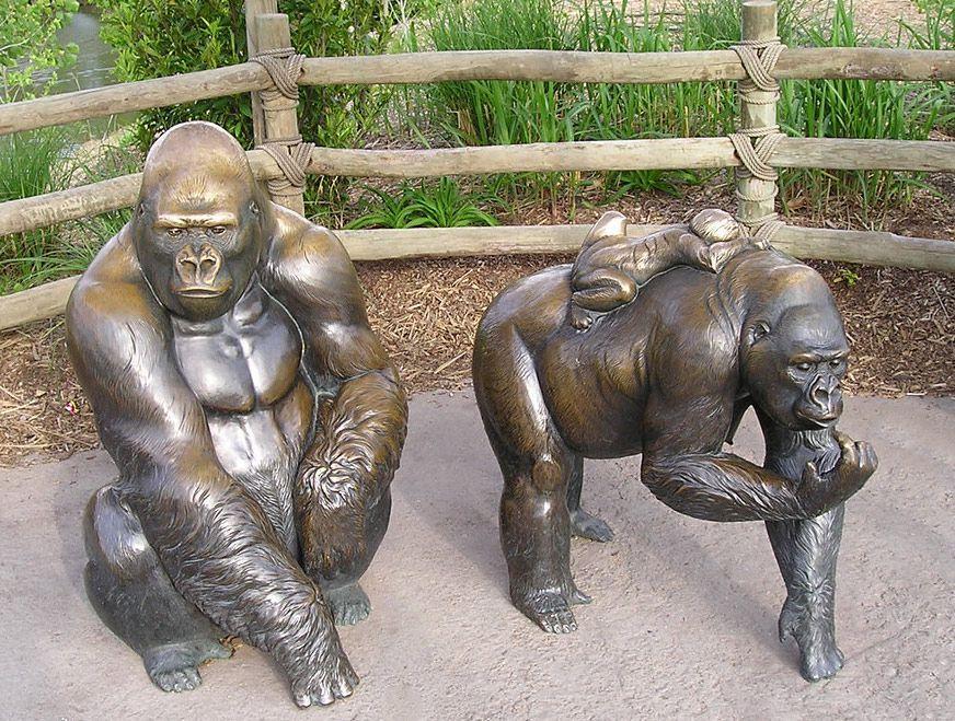Bronze Garden Gorilla Statues