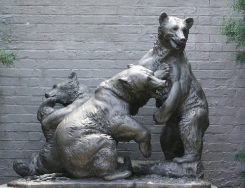Life Size Large Bronze Fight Bears Sculpture