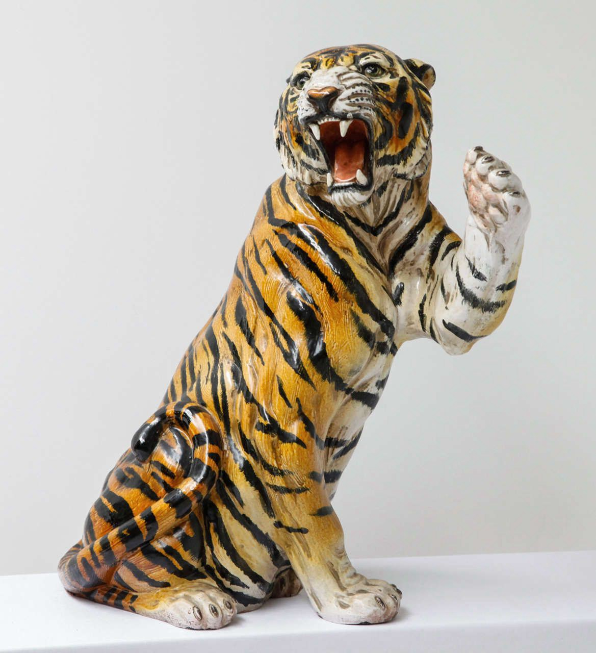 life size ceramic tiger sculpture