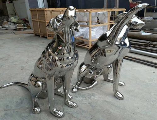 Life Size Garden Metal Dog Sculptures Outdoor