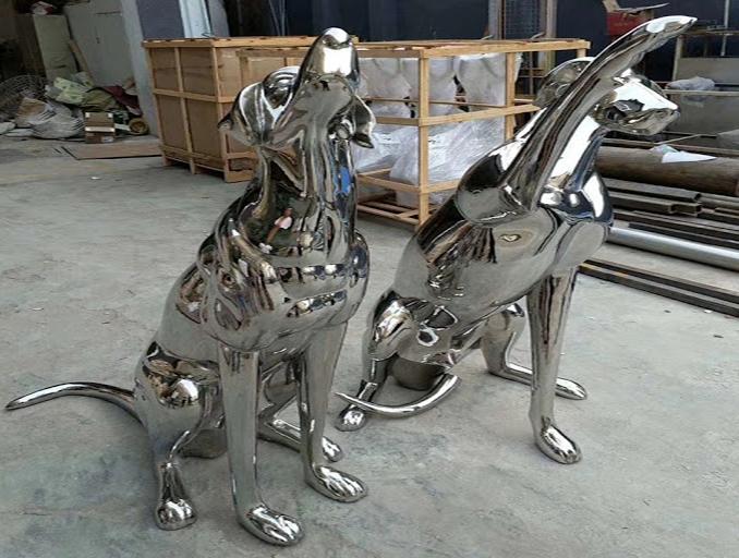 metal dog sculpture outdoor