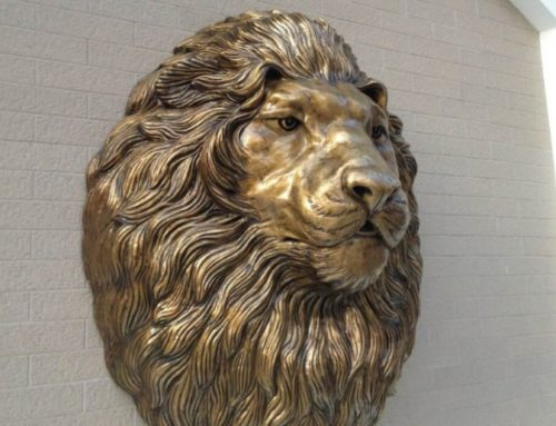 Beautiful Life Size Bronze Wall Lion Head Statue