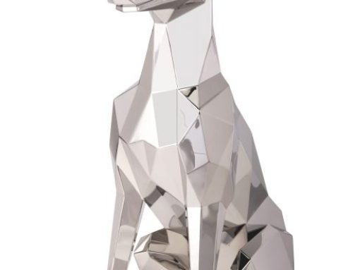 Quite Sitting Decoration Metal Dog Sculpture